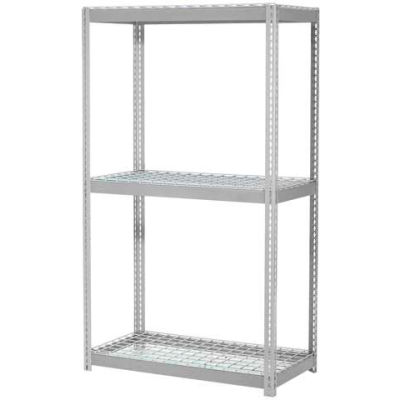 Global Industrial™ Expandable Starter Rack 96x48x84 3 Level Wire Deck 800 lb. Cap Per Deck GRY