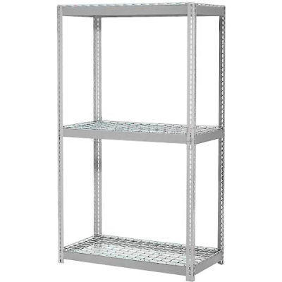 Global Industrial™ Expandable Starter Rack 96x48x84 3 Level Wire Deck 1100 lb. Cap Per Deck GRY