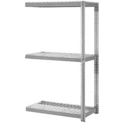 Global Industrial™ Expandable Add-On Rack 48x12x84 3 Level Wire Deck 1500 lb. Cap Per Level GRY
