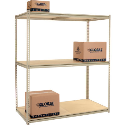 Global Industrial™ High Capacity Starter Rack 72x36x963 Levels Wood Deck 1000lb Per Shelf Tan