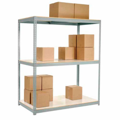 Global Industrial™ Wide Span Rack 60Wx24Dx60H, 3 Shelves Laminated Deck 1200 Lb Per Level, Gray