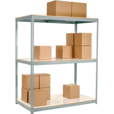 Global Industrial™ Wide Span Rack 96Wx36Dx60H, 3 Shelves Laminated Deck 1100 Lb Per Level, Gray
