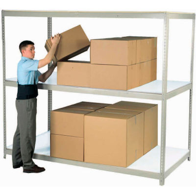 Global Industrial™ Wide Span Rack 96Wx36Dx84H, 3 Shelves Laminated Deck 800 lb. Per Level, Gray