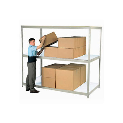 Global Industrial™ Wide Span Rack 96x48x84 3 Shelves Deck 1100 lb. Cap Per Level Gray