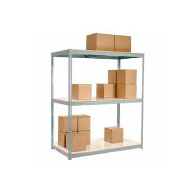 Global Industrial™ Wide Span Rack 96Wx36Dx96H, 3 Shelves Laminated Deck 1100 Lb Per Level, Gray