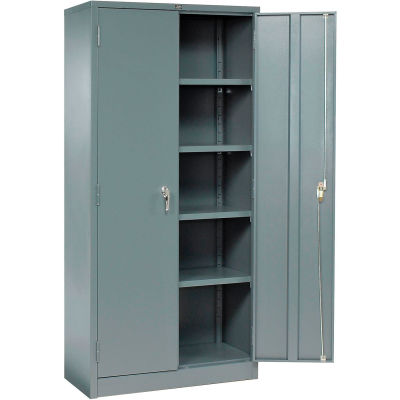 """Global Industrial™ Storage Cabinet, Turn Handle, 36""""Wx18""""Dx78""""H, Gray, Unassembled"""