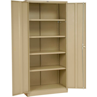 "Global Industrial™ Storage Cabinet, Turn Handle, 36""Wx18""Dx78""H, Tan, Unassembled"