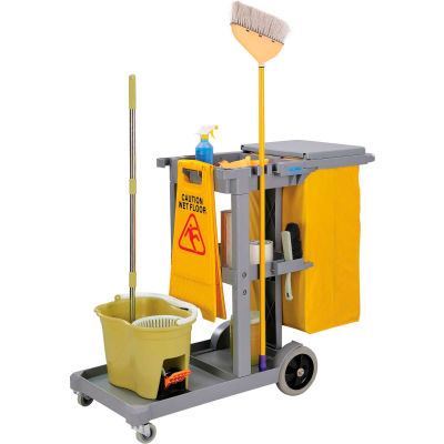 Global Industrial™ Janitor Cart Gray with 25 Gallon Vinyl Bag
