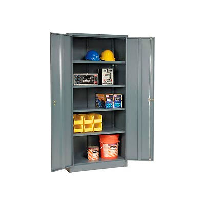 """Global Industrial™ Storage Cabinet, Turn Handle, 36""""Wx18""""Dx78""""H, Gray, Assembled"""