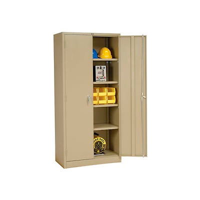 "Global Industrial™ Storage Cabinet, Turn Handle, 36""Wx18""Dx78""H, Tan, Assembled"