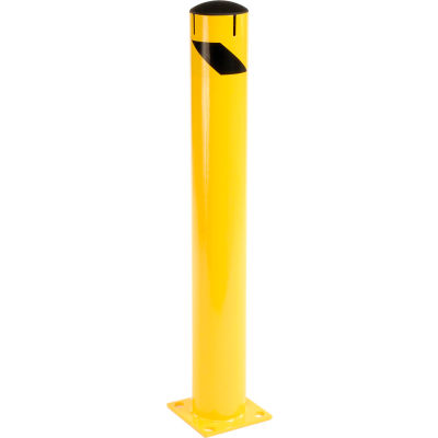 Global Industrial™ Steel Bollard Removable Plastic Cap & Chain Slot, Existing Concrete 42x5-1/2