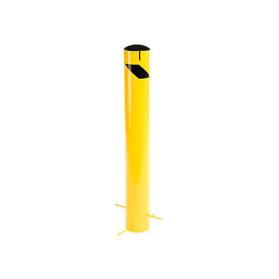 Global Industrial™ Steel Bollard W/Removable Plastic Cap & Chain Slots For Underground 42x5-1/2
