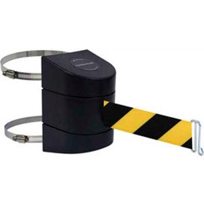 Tensabarrier® Warehouse Retractable Belt Barrier, Clamp Mount, Black Case W/15' Blk/Ylw Belt