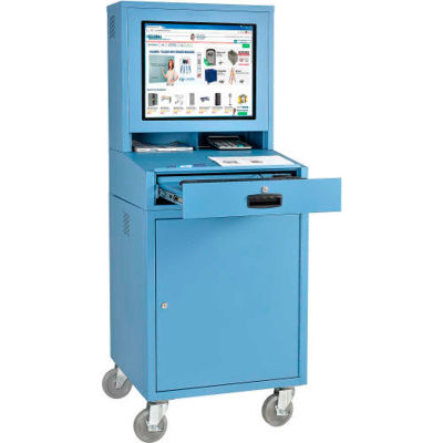 Global Industrial™ Mobile LCD Computer Cabinet Workstation, Blue, Unassembled