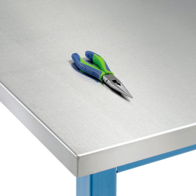 """72""""W x 30""""D x 1-1/2"""" Thick, Stainless Steel Square Edge Workbench Top"""