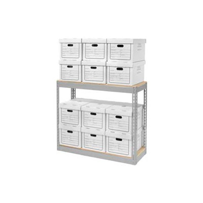 """Global Industrial™ Record Storage With Boxes 42""""W x 15""""D x 36""""H - Gray"""