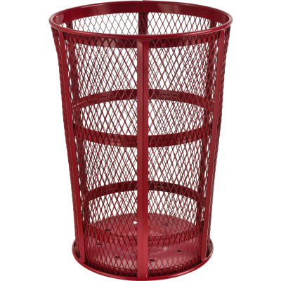 Outdoor Metal Trash Container Red, 48 Gallon - EXP-52P-RD