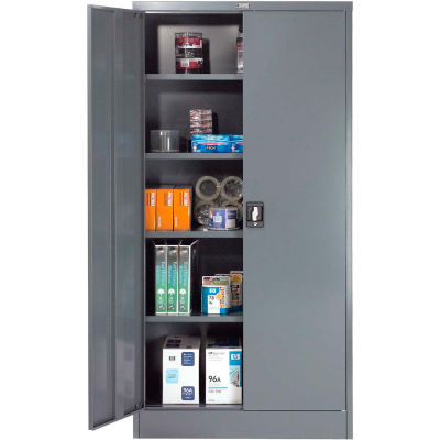 """Global™ Steel Storage Cabinet Recessed Handle 36""""W x 18""""D x 72""""H Gray Easy Assembly"""