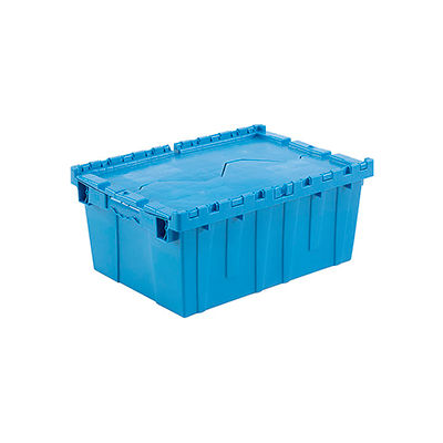 Global Industrial™ Plastic Attached Lid Shipping and Storage Container 21-7/8x15-1/4x9-11/16 BL