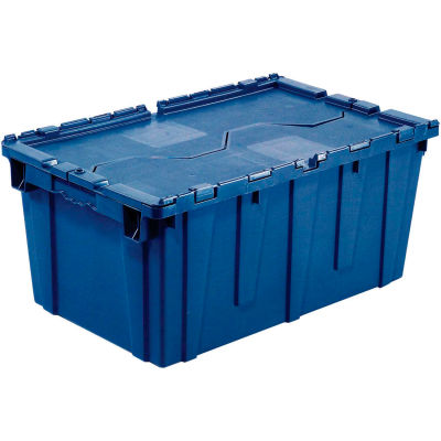 Global Industrial™ Plastic Attached Lid Shipping & Storage Container 21-7/8x15-1/4x12-7/8 Blue