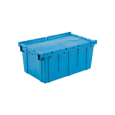 Global Industrial™ Plastic Attached Lid Shipping and Storage Container 27-3/16x16-5/8x12-1/2 BL
