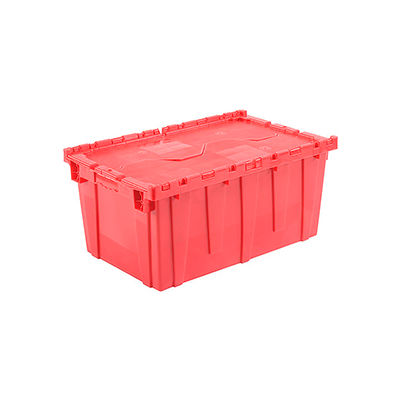 "Global Industrial™ Plastic Shipping/Storage Tote W/Attached Lid, 27-3/16""x16-5/8""x12-1/2"", Red"