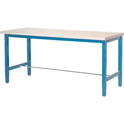 Global Industrial™ 72x30 Adjustable Height Workbench Square Tube Leg, Laminate Safety Edge Blue