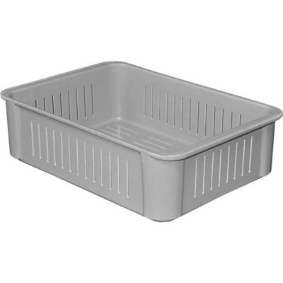 "Molded Fiberglass Toteline Stacking Wash Box 802048 -16-1/2""L x 11-3/8""W x 4-5/8""H, Gray"