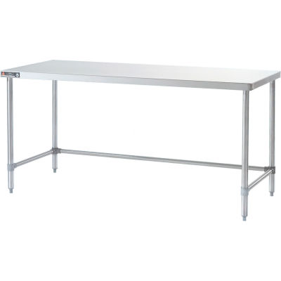 Aero Manufacturing 4TGX-3072 16 Gauge Workbench 430 Stainless Top - Galv. Legs & Crossbrace 72 x 30