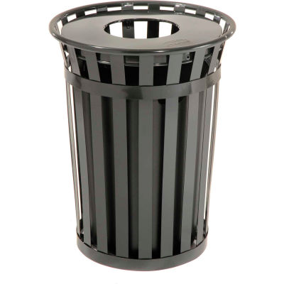 Global Industrial™ Outdoor Metal Waste Receptacle - 36 Gallon Black