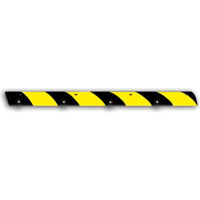 "72"" Rubber Speed Bump, Black with Yellow Stripes"