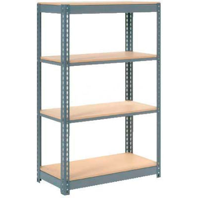 "Global Industrial™ Heavy Duty Shelving 36""W x 24""D x 72""H With 4 Shelves - Wood Deck - Gray"