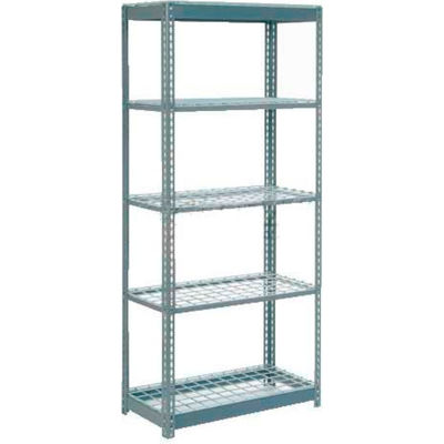 "Global Industrial™ Heavy Duty Shelving 36""W x 12""D x 72""H With 5 Shelves - Wire Deck - Gray"