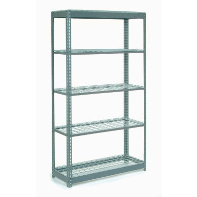 "Global Industrial™ Heavy Duty Shelving 48""W x 12""D x 72""H With 5 Shelves - Wire Deck - Gray"