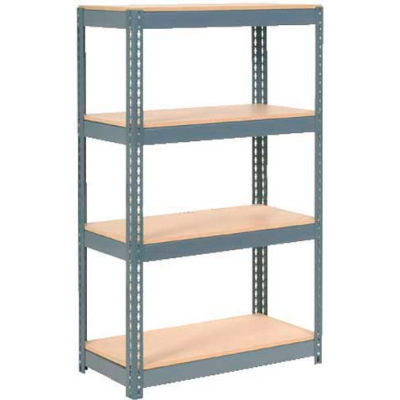 """Extra Heavy Duty Shelving 36""""W x 18""""D x 72""""H With 4 Shelves - Wood Deck - Gray"""