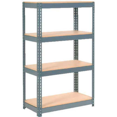 """Global Industrial™ Extra Heavy Duty Shelving 36""""W x 24""""D x 72""""H With 4 Shelves, Wood Deck, Gry"""