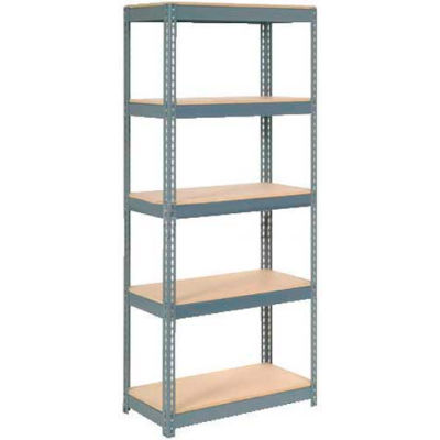 "Extra Heavy Duty Shelving 36""W x 12""D x 72""H With 5 Shelves - Wood Deck - Gray"