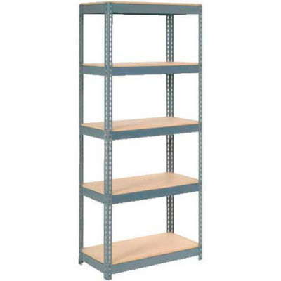 """Extra Heavy Duty Shelving 36""""W x 18""""D x 72""""H With 5 Shelves - Wood Deck - Gray"""