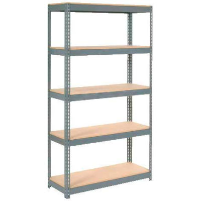 "Global Industrial™ Extra Heavy Duty Shelving 48""W x 12""D x 72""H With 5 Shelves, Wood Deck, Gry"