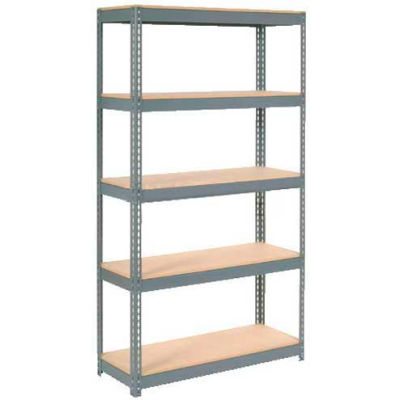 "Extra Heavy Duty Shelving 48""W x 18""D x 72""H With 5 Shelves - Wood Deck - Gray"