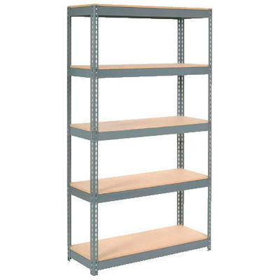 "Global Industrial™ Extra Heavy Duty Shelving 48""W x 24""D x 72""H With 5 Shelves, Wood Deck, Gry"