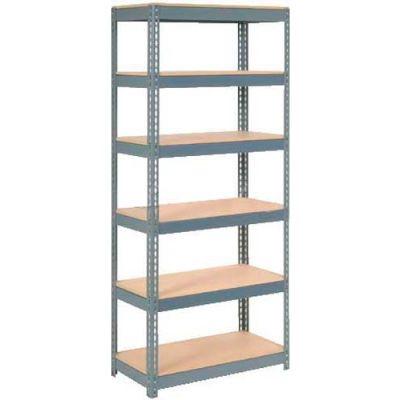 """Global Industrial™ Extra Heavy Duty Shelving 36""""W x 18""""D x 72""""H With 6 Shelves, Wood Deck, Gry"""