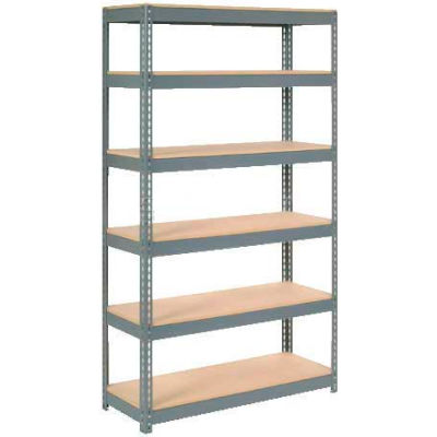 "Extra Heavy Duty Shelving 48""W x 12""D x 72""H With 6 Shelves - Wood Deck - Gray"