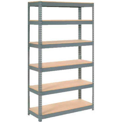 """Global Industrial™ Extra Heavy Duty Shelving 48""""W x 18""""D x 72""""H With 6 Shelves, Wood Deck, Gry"""