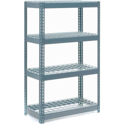 """Global Industrial™ Extra Heavy Duty Shelving 36""""W x 24""""D x 72""""H With 4 Shelves, Wire Deck, Gry"""