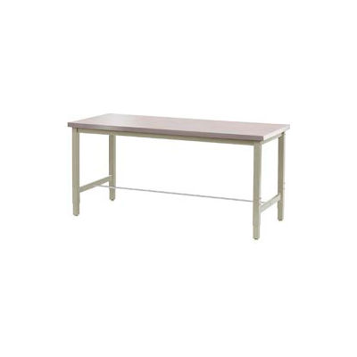 """60""""W x 30""""D Adjustable Height Workbench Square Tubular Leg - Stainless Steel Square Edge - Tan"""