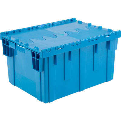 """Global Industrial™ Plastic Shipping/Storage Tote W/Attached Lid, 28-1/8""""x20-3/4""""x15-5/8"""", Blue"""