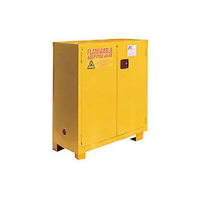 "Global Industrial™ Flammable Cabinet W/ Legs, 28 Gallon Manual Close DBL Door, 34""Wx18""Dx48""H"