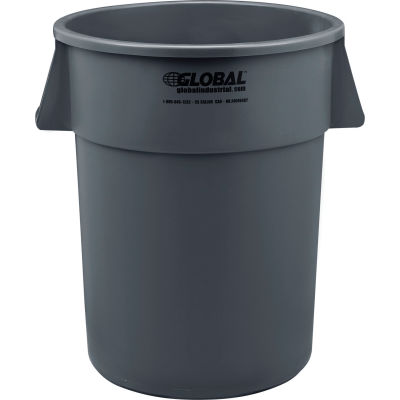 Global Industrial™ Plastic Trash Can, Gray, 55 Gallon