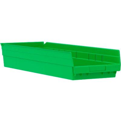 "Akro-Mils Plastic Shelf Bin Nestable 30184 - 8-3/8""W x 23-5/8""D x 4""H Green - Pkg Qty 6"